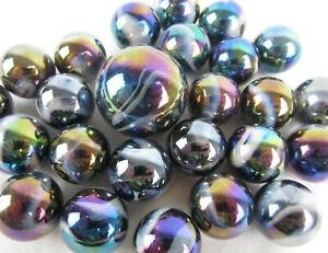 25-Glass-Marbles-MILKY-WAY-Purple-Gold-Oil-Slick-Metallic-Iridescent-Shooter-new