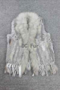 Real-RABBIT-FUR-VEST-Waistcoat-Knit-Fur-With-Raccoon-Fur-Collar-Women-Gilet