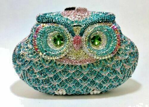 Multi Color ~ Blue~ Crystal New~OWL~Bird~Bridal Metal Evening Bag