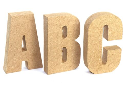 18mm MDF Impact Letters Free Standing Wooden Text Signs 8 Heights Available