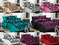 New Luxury 7Pcs Flock Quilted Bed Spread / Comforter Set / Double & King Size
