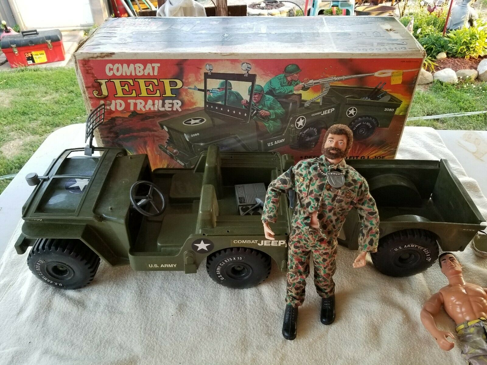 Vintage G.I. Joe Figure & Combat Jeep And Trailer With Box + Extras