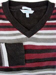 FAT-FACE-Jumper-Mens-M-Burgundy-Brown-amp-Grey-Stripes-TEXTURED
