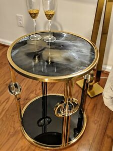 Details about Round Stainless Steel & Brass side table with a Epoxy pour on  top