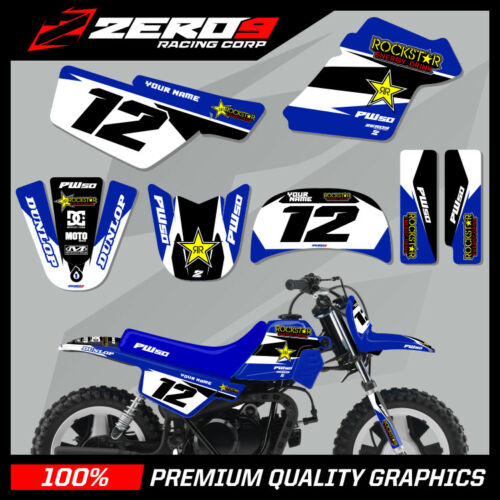 YAMAHA PW50 MOTOCROSS MX GRAPHICS DECAL KIT ROCKSTAR BLUE PEE WEE 50