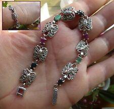 Magnifique bracelet  style ancien multi-pierres et marcassites en argent 925