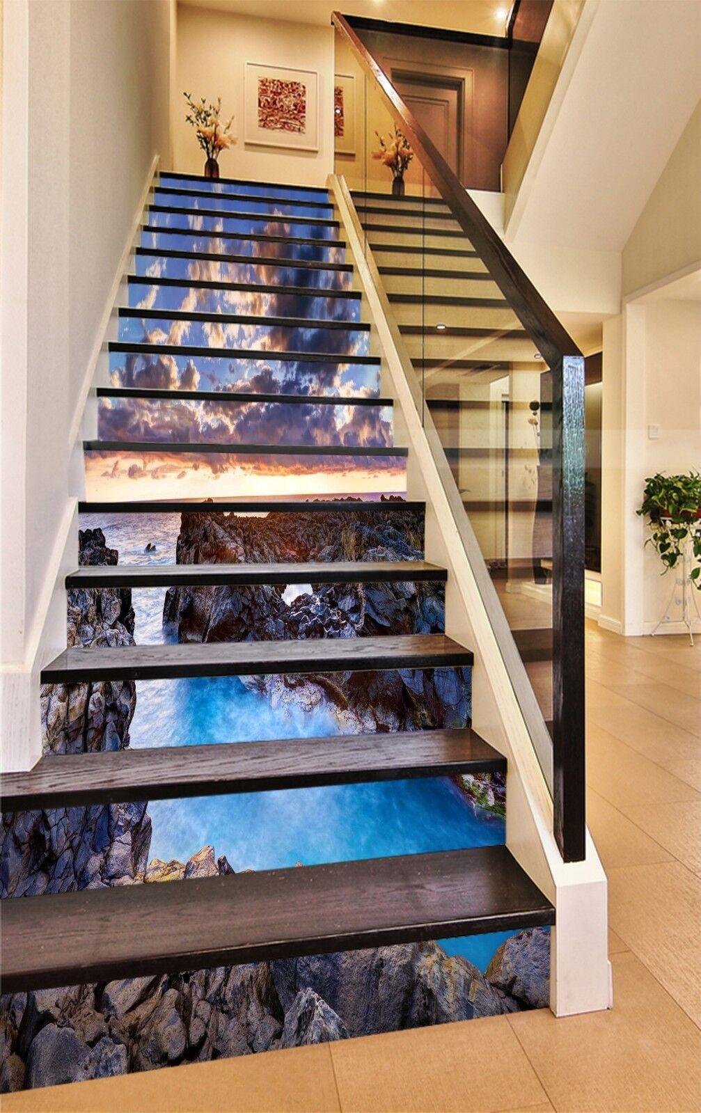 3D Hills River 71 Stair Risers Decoration Photo Mural Vinyl Decal Wallpaper UK