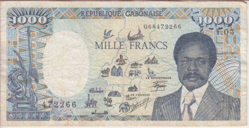 Gabon Banknote P10b 1,000 Francs 1.1.1991, F