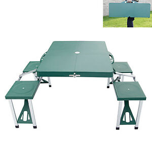 Kinbor Portable Folding Camping Picnic Table Set w/4 Seats Outdoor ...