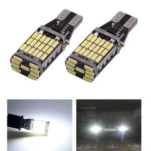 2x-t15-w16w-LED-45-SMD-luz-de-marcha-atras-sin-errores-error-CanBus-pera-intermitente-6000k