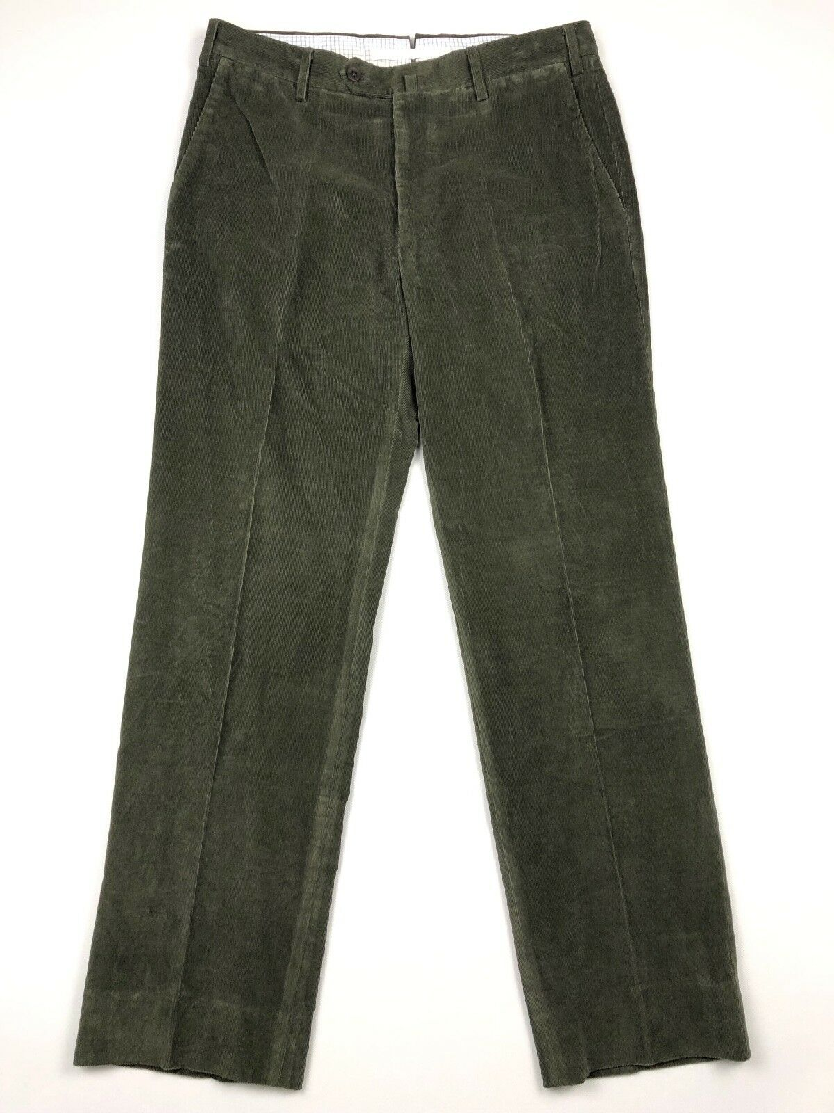 Luigi Borrelli Napoli Men's Corduroy Pants Flat Front Green • Size 32x31   50 IT