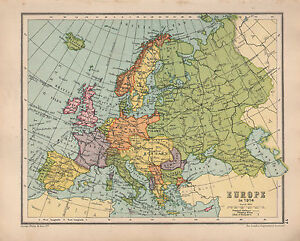 1934 MAP EUROPE BRITISH ISLES SPAIN FRANCE DENMARK SHIPPING