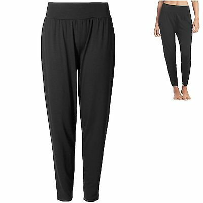 M&S sz 10 12 Yoga Bottoms Trousers Cool Comfort Quick Dry Tapered Leg Black New