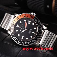 42mm parnis black dial orange & black bezel miyota automatic mens wrist watch