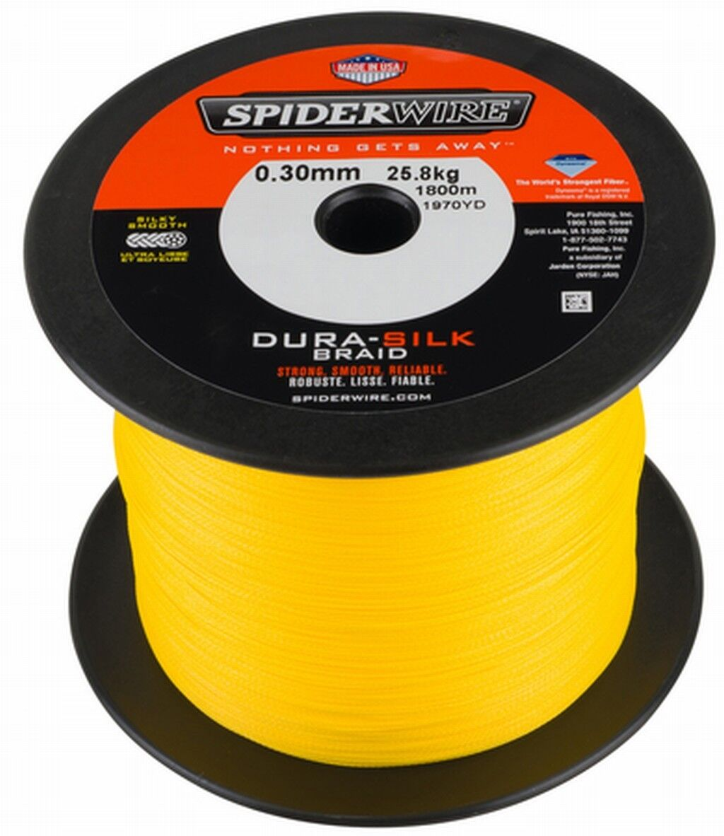 SPIDERWIRE DURA-SILK 1800m 1800m 1800m Big Spools - All Größes - Gelb, Grün d4ded9