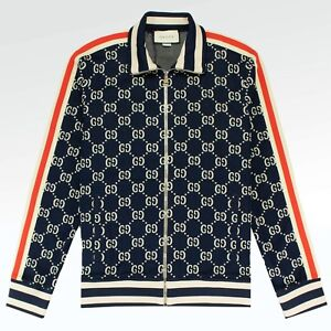 6798f442bffcb 100% AUTHENTIC BRAND NEW MENS Gucci GG Jacquard Track Jacket Blue ...