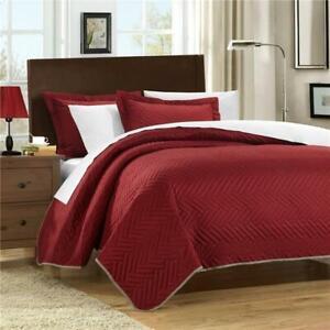 Chic-Home-QS3261-BIB-US-7-Piece-Mateo-Chevron-Blocks-Queen-Quilt-Set-Red-with