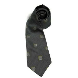 Ermenegildo Zenga Men's Made In Italy Silk Grey Square Design Tie