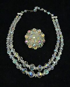 CRYSTAL-Glass-BEADS-NECKLACE-Aurora-Borealis-AB-Double-Strand-Brooch-Vintage