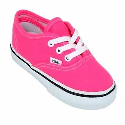 Vans Authentic Pink Neon Canvas Infant Toddler Baby Boy Girl Shoes Size 4-10