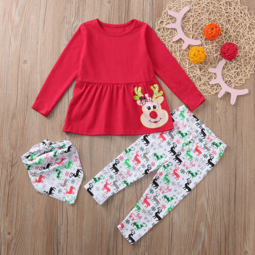 Cute Toddler Baby Girls Christmas Deers Print Dresses Pants Outfits Clothes Set
