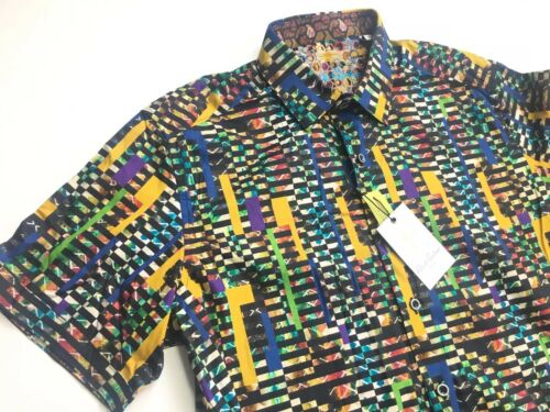 "Robert Graham Men /""Fergus Falls/"" Black Multi Short Sleeve Shirt Large L $178 NWT"