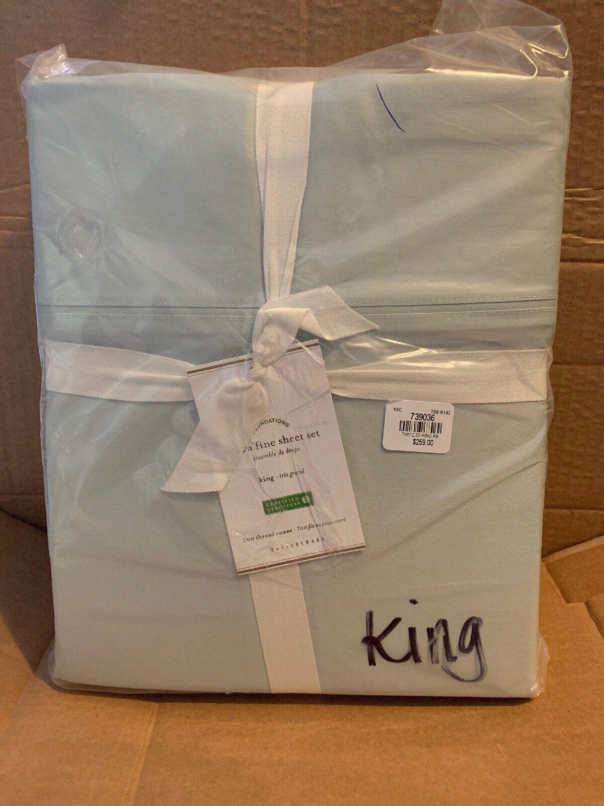 New Pottery Barn Ultra Fine King  Sheet Set 700-Thread Count Porcelain bluee  259