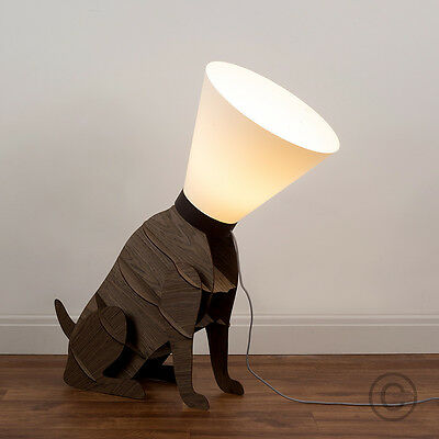 Modern Brown Wooden Designer Style Dog on Lead Statue Floor Lamp Light Lamps NEW