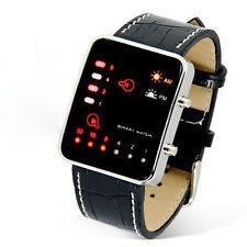 Unisex Digitale rote LED Sport-Armbanduhr Binäre Armbanduhr PU-Lederband Cool