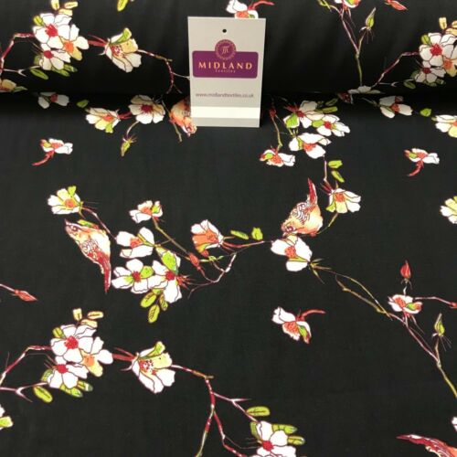 "Vintage Bird Floral Printed Viscose Rayon Dress Fabric 58/"" wide ME886 Mtex"