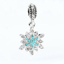 925 Silver Blue Snow CZ Pendant Dangle Charm Bead Fit European Bracelet