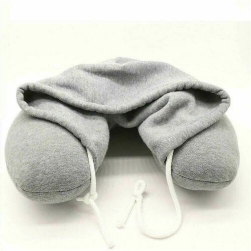Travel Hoodie Pillow Grey Soft Padded Relaxing Office Home Sleep Chair Cushion