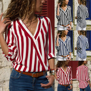 Women-V-Neck-Long-Sleeve-Blouse-Tops-Shirt-Ladies-Striped-Chiffon-Casual-Top