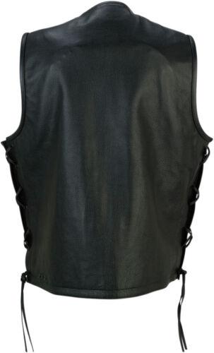 Choose Size Z1R Men/'s GAUCHO Leather Motorcycle Riding Vest Black
