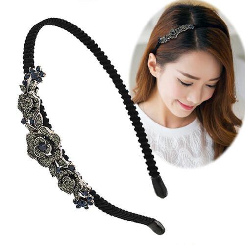 Womens Headband Twist Hairband Crystal Diamond Thin Headwrap Hair Band Hoop 6L