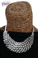 FEATHER NECKLACE , CHUNKY LAYERED DESIGN , FEATHERS LEAF , NICKLE FREE POPULAR