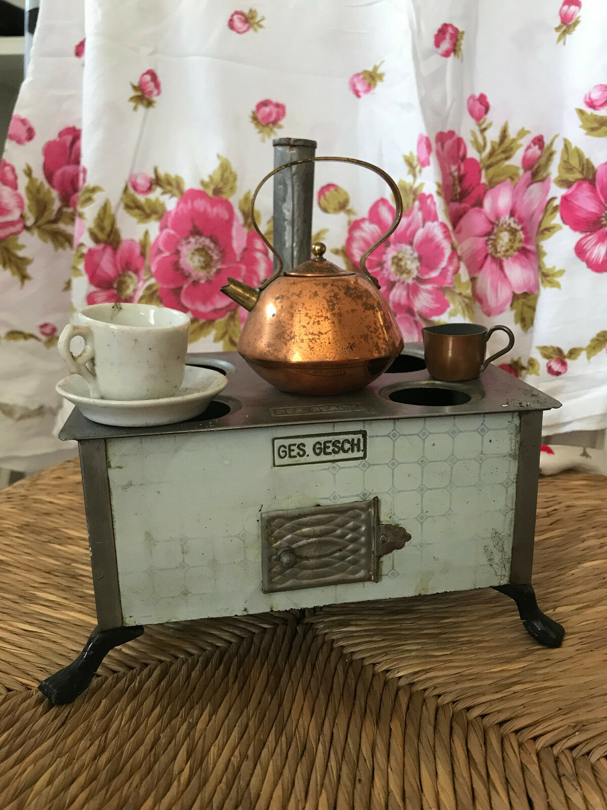 Antique Toy Doll Stove with Accessories  Ges Gesch made in Germany