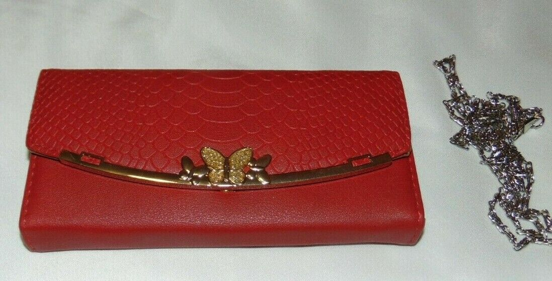 NWT Womens BE LEATHER Red BUTTERFLY Envelope Fold CLUTCH Wallet w/Chain Strap