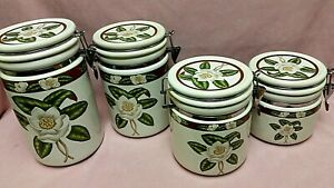 American-Atelier-Magnolia-Blossom-Stoneware-4-Pc-Canister-Set-Air-Tight-Lids
