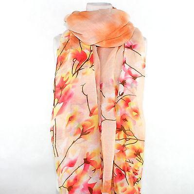 Schal Tuch Fashion Edel Floral Pfirsich Pink Melone *NEU* XXL Luxus