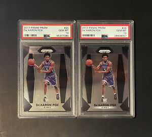 2017 Panini Prizm De'Aaron Fox Rookie RC #24 PSA 10 GEM MINT (2 Card Lot)