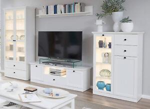 Details zu Wohnwand in weiß Landhaus Wohnzimmer Schrankwand Möbel 330 cm  Anbauwand Baxter