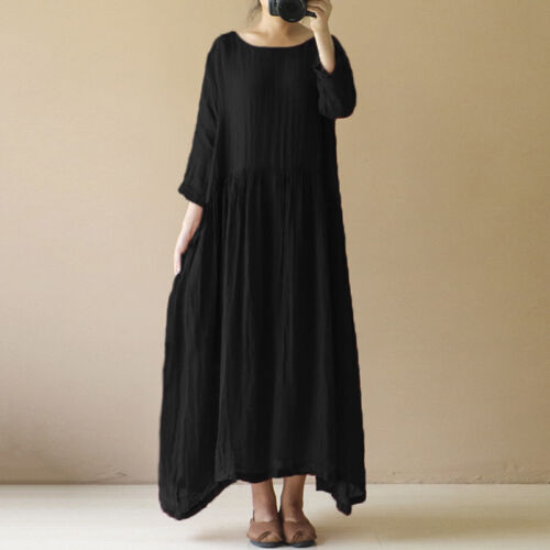 Womens Summer Beach Loose Solid Dress Cocktail Party Kaftan Maxi Long Dress Plus