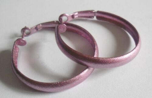 boucles d/'oreille créoles rose irisée diametre 3,5 cm Bijou fantaisie
