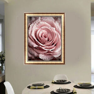Bricolaje 5D Diamante Bordado Pintura Flor Rosa Punto de Cruz Kits