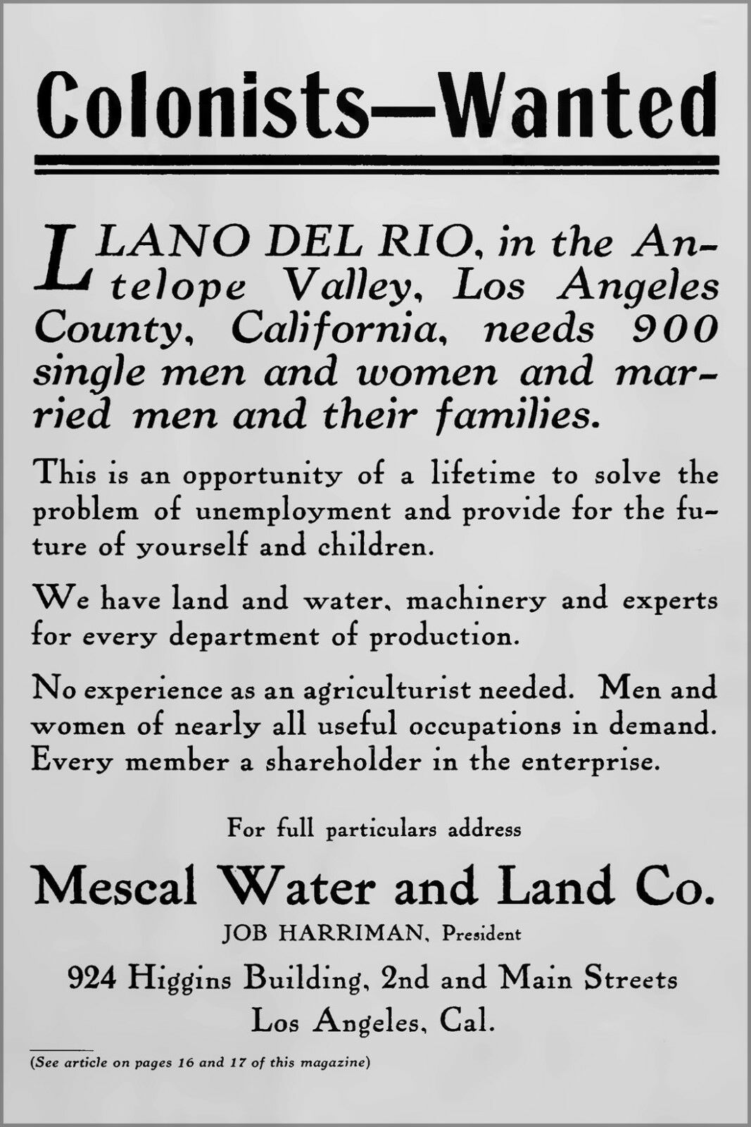 Poster, Many Dimensiones; Los Angeles California Ad For Llano Cooperative Colony 1914