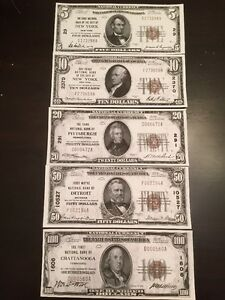 $20 /& $50 US GOLD NOTE SET ~~REPRODUCTIONS~~ 1922 $10