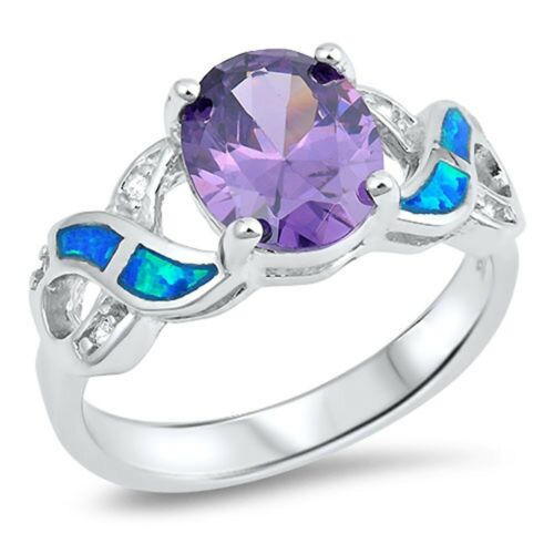 Blue Opal Infinity with CZ and Oval Shape Amethyst .925 Sterling Silver Ring