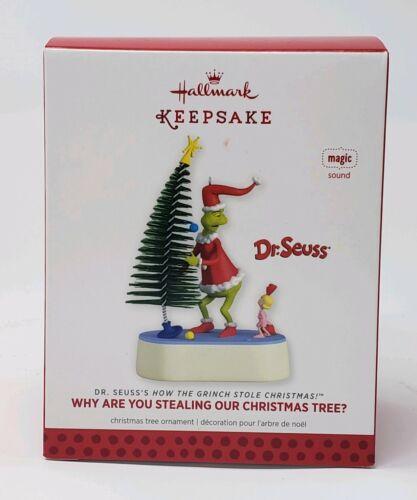 HALLMARK 2013 GRINCH WHY ARE YOU STEALING OUR CHRISTMAS TREE SOUND NIB MIB