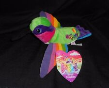 "8"" LISA FRANK RAINBOW DASHLY HUMMINGBIRD BIRD BEAN BAG STUFFED ANIMAL PLUSH TOY"